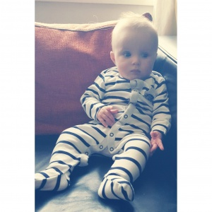 RLT in Next stripey sleepsuit