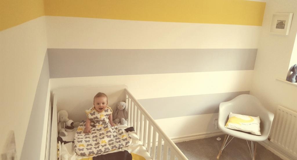rlt in striped bedroom