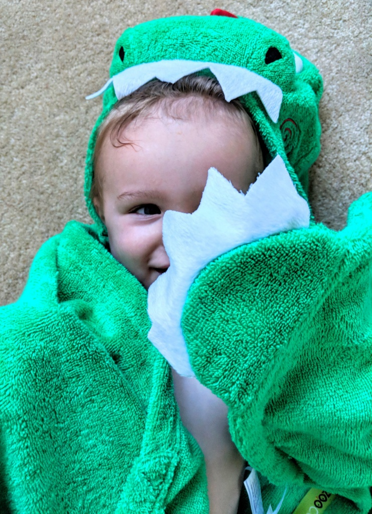 making bathtimes fun with this dinosaur towel