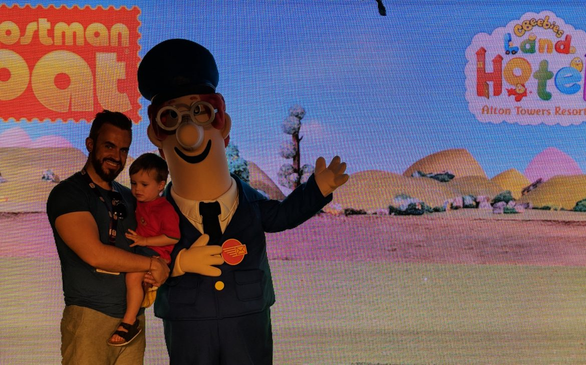 dad and baby picture with postman pat cbeebies hotel meet and greet