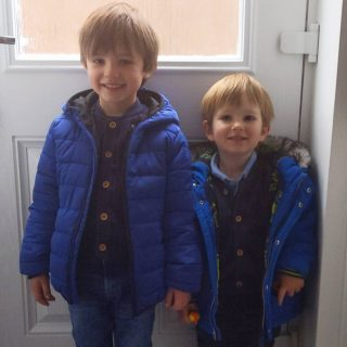 2 little fellas very happy that their Daddy is off today